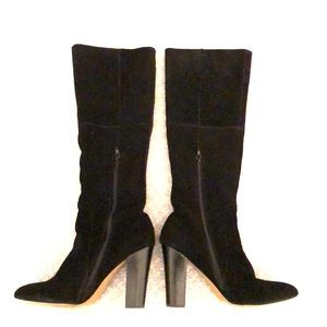 BETSY JOHNSON:  Black Suede Chunky Heel Boots